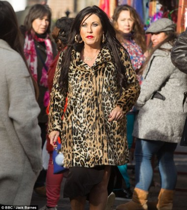 Kat Slater wearing her signature leopard print coat in an episode of Eastenders, hopefully a look soon to be seen on Snatch Game.