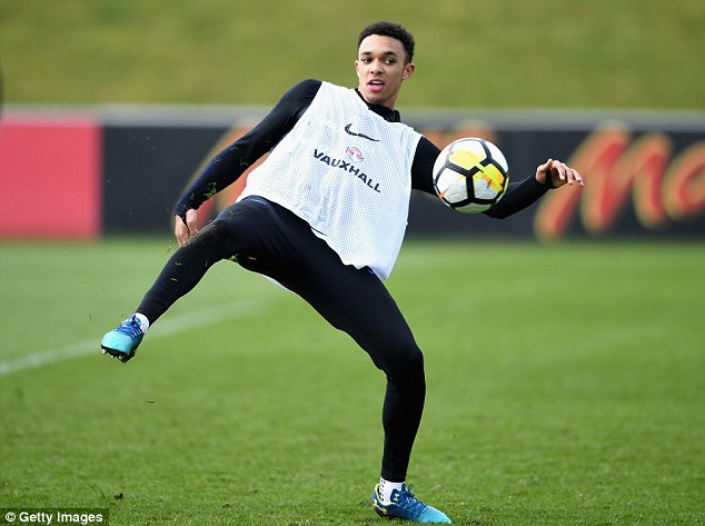 Trent Alexander-Arnold was invited over to take part in senior training by Gareth Southgate