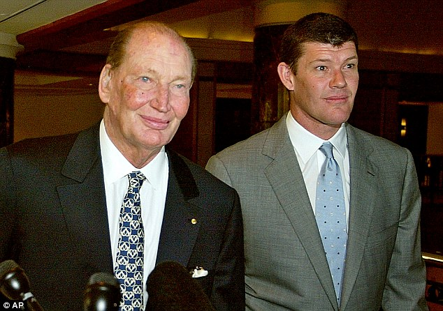 Pictured is James Packer with his father, Kerry Packer, Australia's richest man, in 2004