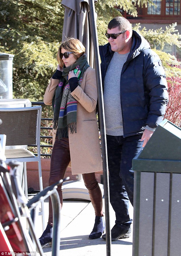 Pictured isJames Packer with a mystery woman  Sky Resort in Aspen Colorado last year