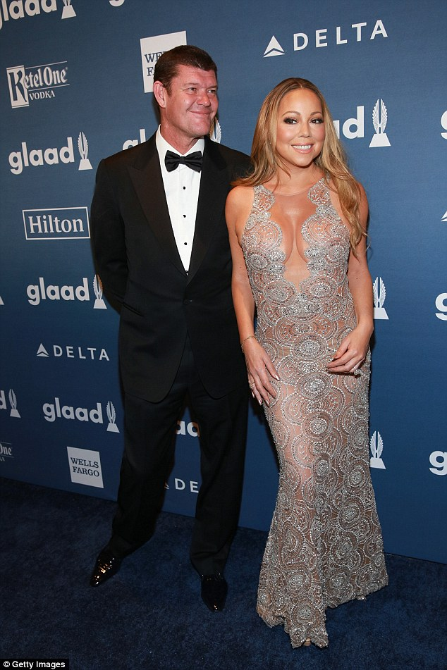 Mariah Carey and James Packer attending an awards night at the Waldorf-Astoria in New York