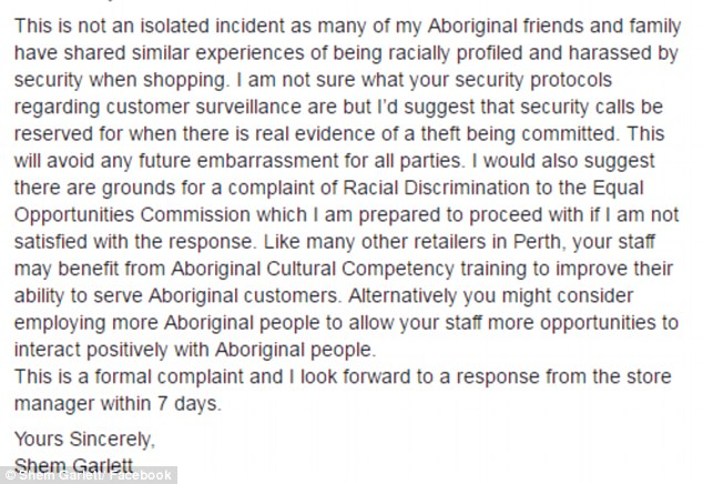 In his formal complaint letter (pictured) Mr Garlett suggested the Myer store train their staff in Aboriginal Cultural Competency or hire more Aboriginal people