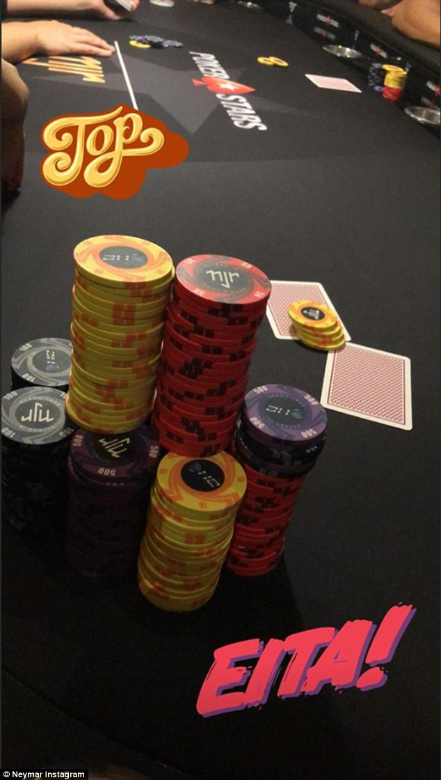 The PSG and Brazil star uploaded a series of photographs of their poker game to his Instagram