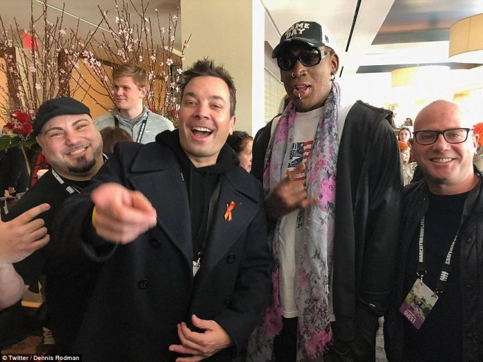 Jimmy Fallon is also at the event in Washington DC. He also posed with Rodman backstage
