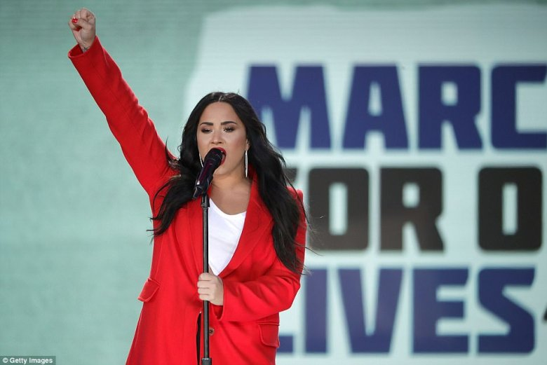 Demi Lovato also sang at the Washington DC march on Saturday as part of the March For Our Lives protest
