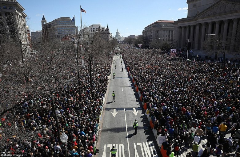 Hours before the event began, the streets in DC were filled and students the crowds looked towards the Capitol where a stafe was set up