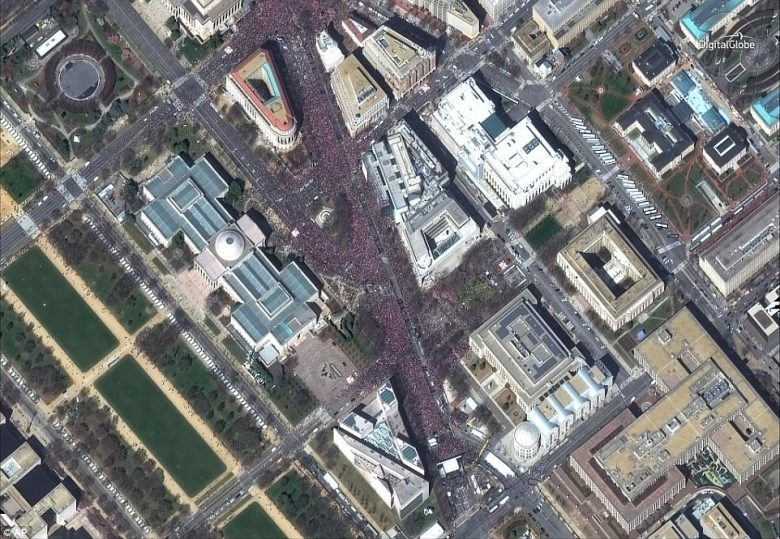 This satellite image provided by DigitalGlobe shows the March For Our Lives rally in Washington, DC on Saturday