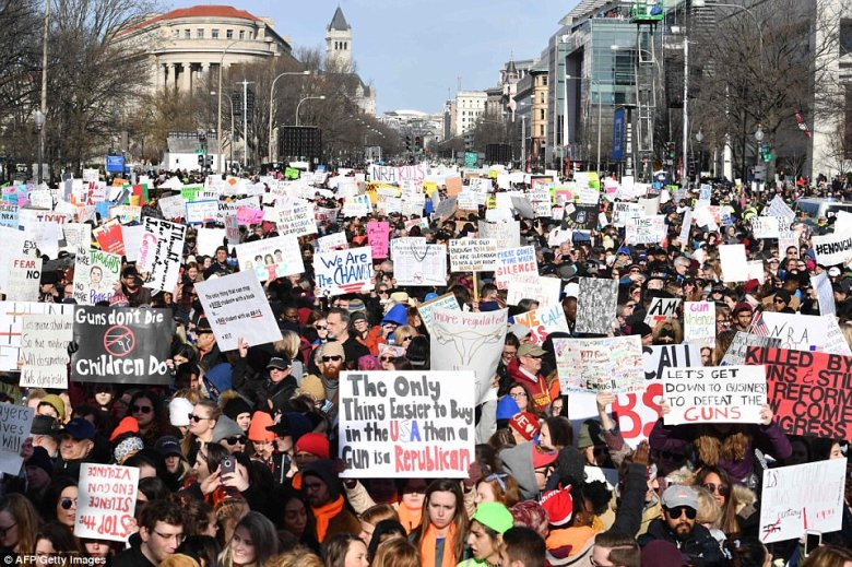 This was the scene on Pennsylvania Avenue at around 9am on Saturday morning as more and more protesters arrived with signs