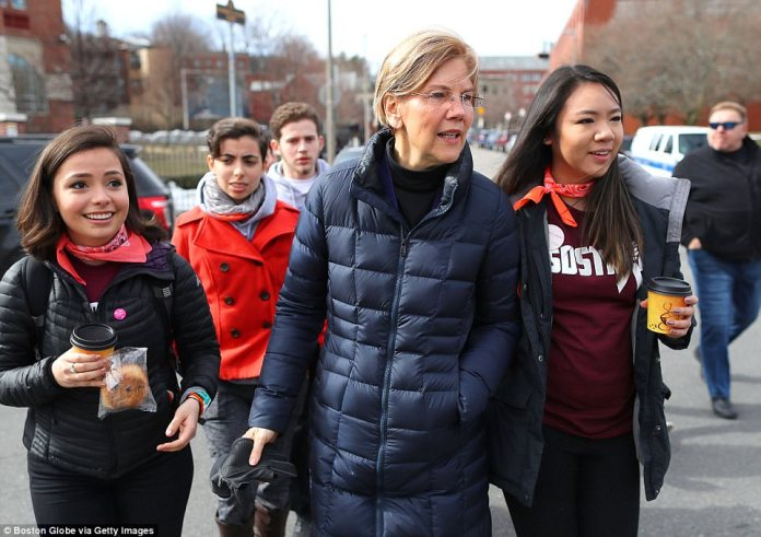Senator Elizabeth Warren joins students gathered at Madison Park High School before the March for Our Lives in Boston