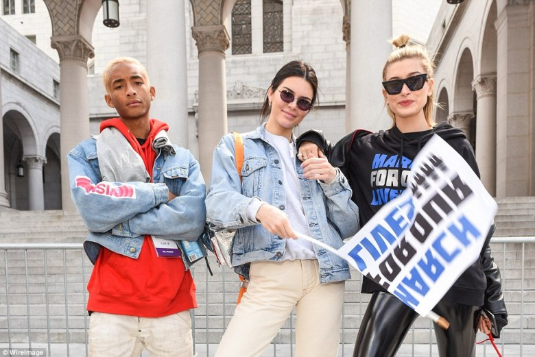 Jaden Smith (left), Kendall Jenner (center) and Hailey Baldwin (right) attending March For Our Lives in Los Angeles