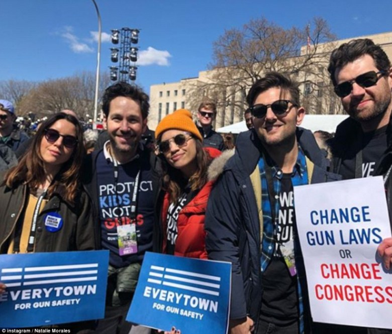 Natalie Morales carried a sign that said 'Everytown for gun safety'