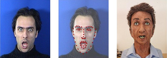 The robot is equipped with specialised software that can read people's faces, including movements of the eyebrows, jaw, mouth and elsewhere, recorded by an on-board camera
