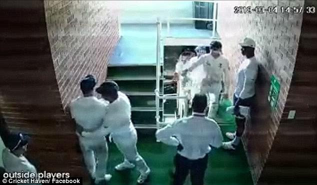 CCTV footage (pictured) from the players' tunnel showed Warner and de Kock involved in a fiery exchange during the tea break on the fourth day of the first Test in Durban