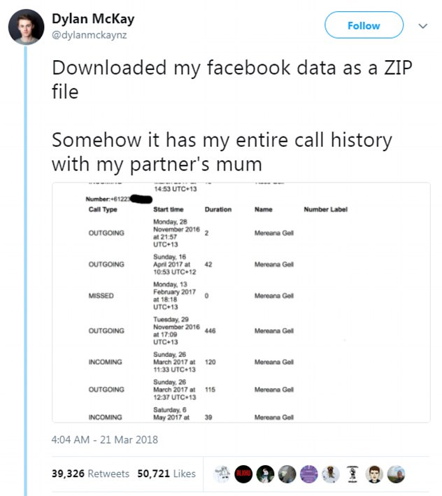 Facebook is also facing criticism for collecting years of data on call and text histories from Android users. Facebook user Dylan McKay revealed Facebook logged every mobile call he'd ever made