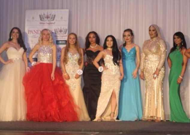 Wowing the judges: Maria, second from left, at the Miss Birmingham competition last week