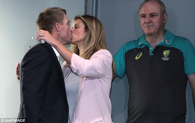 He hugged and kissed Mrs Warner before saying sorry for his part in the ball tampering scandal