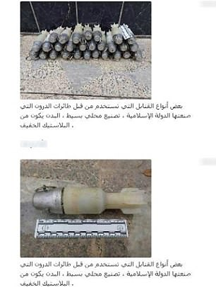 Rockets (left) feature in the shocking images, as well as aerial views of apparent targets (right)