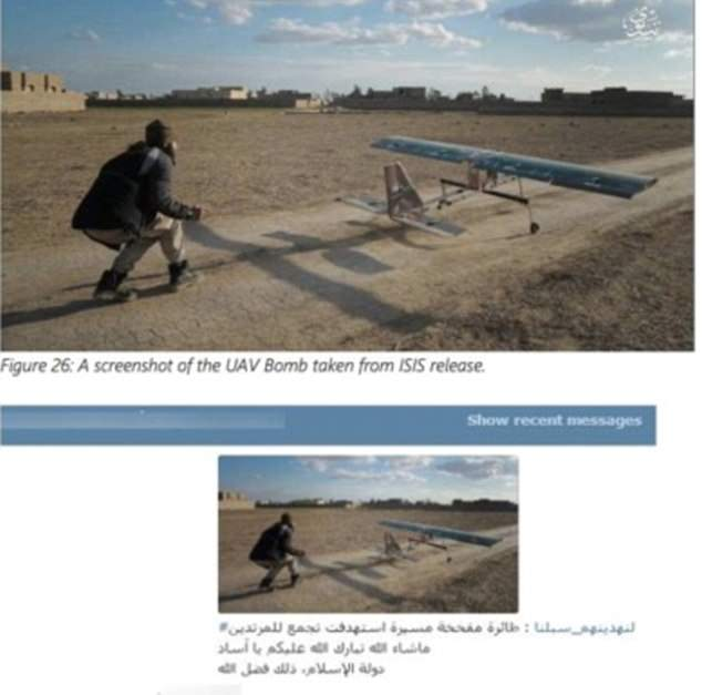 One picture appears to show a UAV bomb being deployed by an ISIS militant crouching down behind it (top)