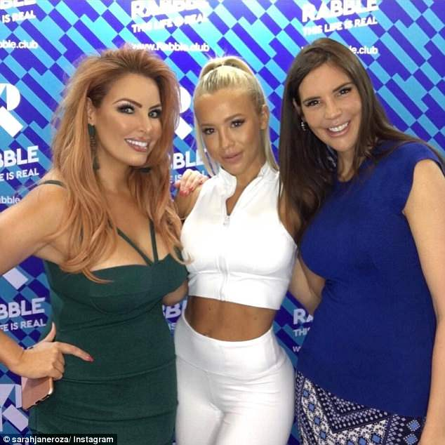 New look: The 38-year-old  shared an Instagram photo on Monday which appeared to show her looking noticeably slimmer. Pictured with Tammy Hembrow (centre) and Tracey Jewel (right)