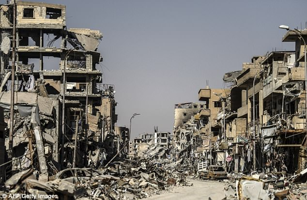 Aftermath: Raqqa, which as ISIS's de facto capital, is one of the areas of Syria where new infrastructure will be needed. Trump suggested ending all U.S. efforts to build it in the Situation Room argument