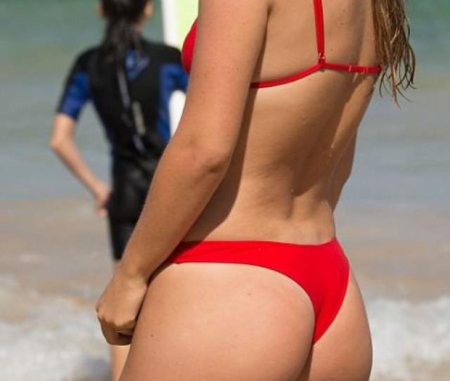 Wearing A Brightly Coloured Red Thong Style Bikini Ruby Pictured Was Joined