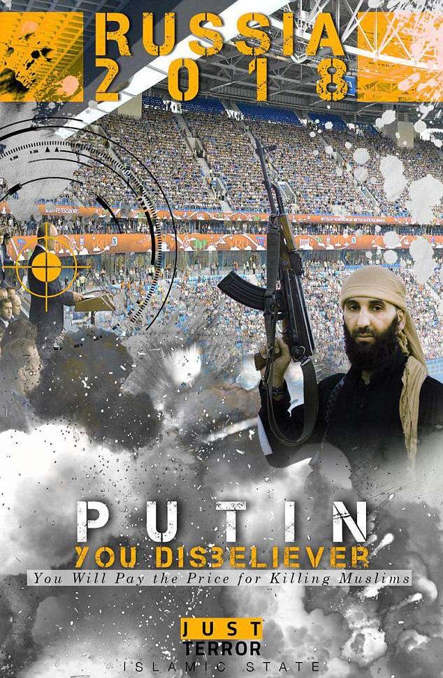 World Cup target:The poster shows Russian President Vladimir Putin with a target aiming straight at him and a packed football arena in the background