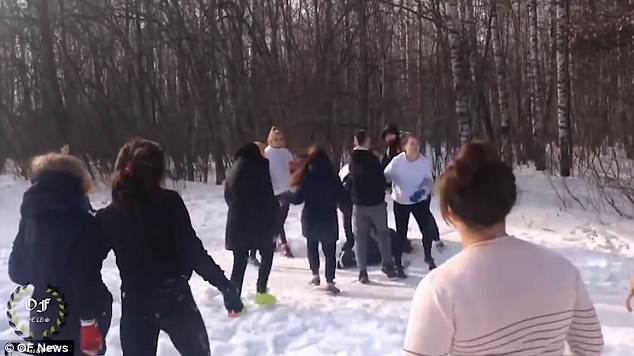The staged brawls were caught on camera and shared on Russian social media sites.