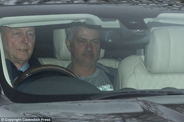 Jose Mourinho has a smirk on his face as he arrives to plot a win over West Brom