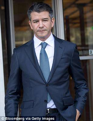 Khosrowshahi, formerly CEO of the Expedia travel booking site, replaced hard-charging co-founder Travis Kalanick in August. Kalanick is pictured in San Francisco on February 7 after an Uber court case