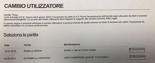 A screenshot of an email sent to Roma season ticket holders allegedly selling tickets for a Champions League match with Liverpool before the semi-final draw was made