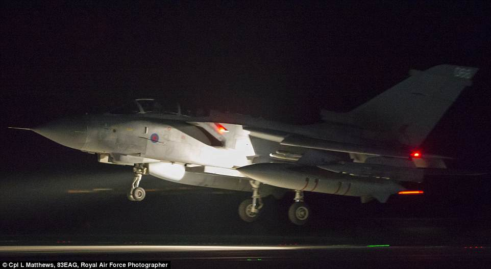 An RAF Tornado comes into land at RAF Akrotiri after concluding its mission. Four Royal Air Force Tornado's took off to conduct strikes