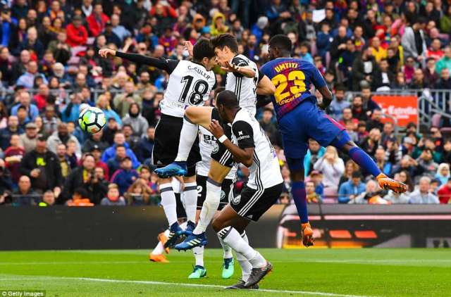 The centre-back rises high to score with a header after latching onto a precise delivery from the impressive  Coutinho