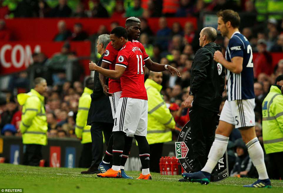 Pogba is brought off for Anthony Martial early in the second half after failing to make an impact in the Premier League game