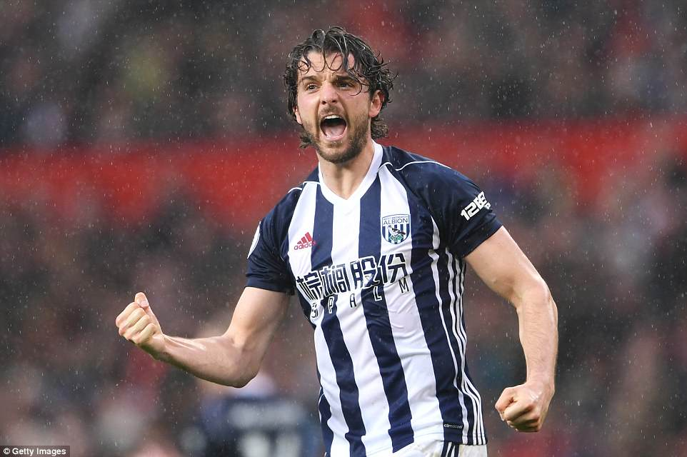 West Bromwich Albion striker Jay Rodriguez celebrates after giving his side a shock lead over Manchester United on Sunday
