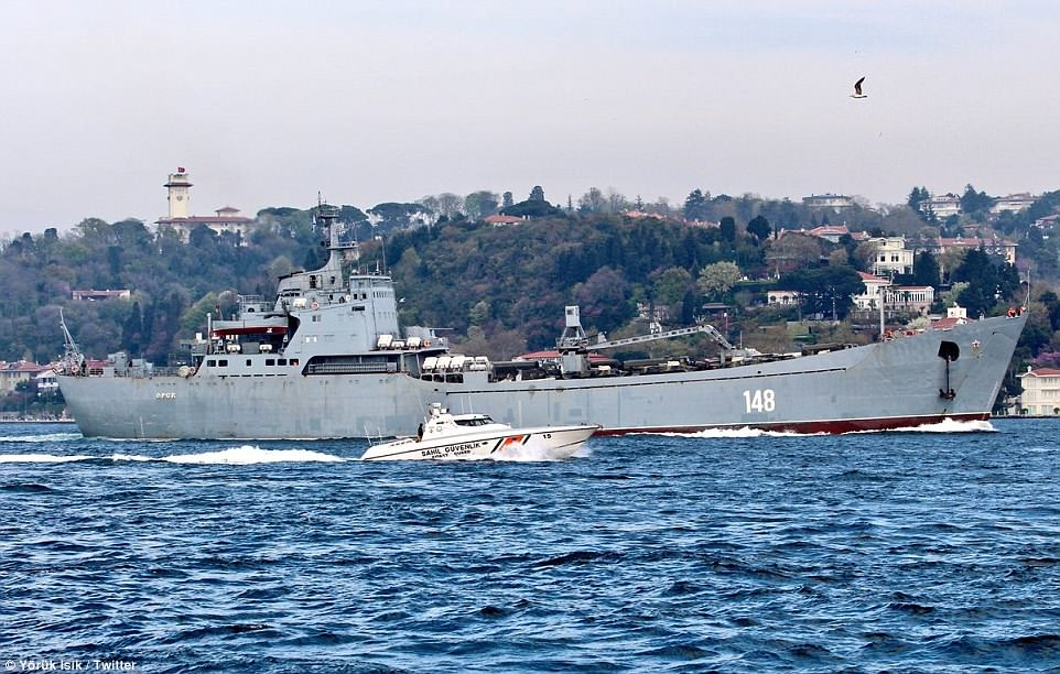 Two Russian warships laden with military vehicles have been spotted en route to the Syria after Friday's US-led airstrikes obliterated three suspected chemical weapons sites