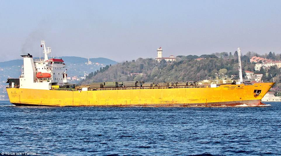 A yellow RoRo Alexandr Tkachenko was seen cruising down The Bosphorus headed for Russia's naval base at Tartus, northern Syria  with high-speed patrol boats, bridge boats and several trucks