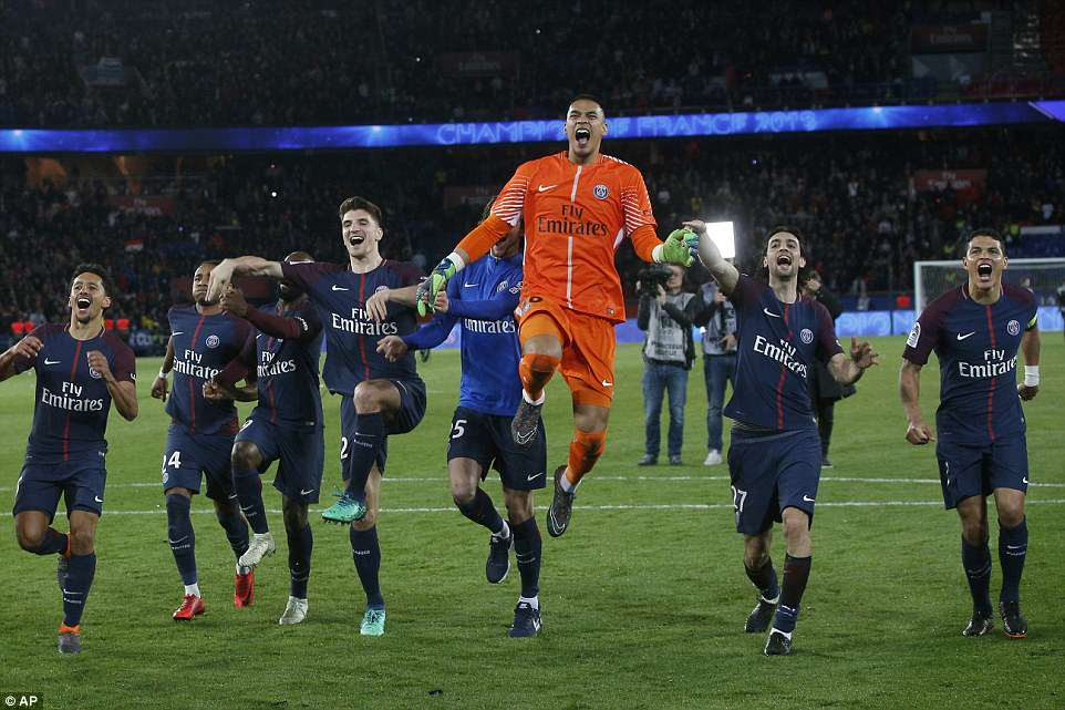 Following the game the jubilant PSG players celebrated their title success after their superb win in front of a home crowd