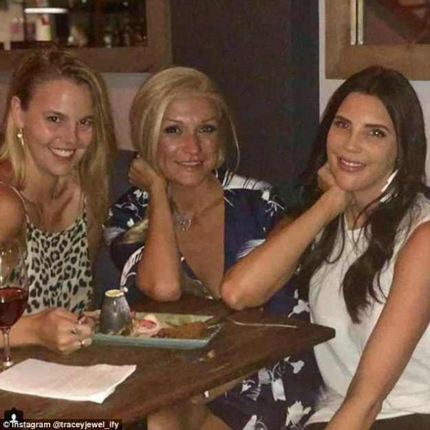 Girls' night:Tracey Jewel reunited with her co-stars Blair Rachael and Gabrielle Bartlett for drinks in Sydney on Monday
