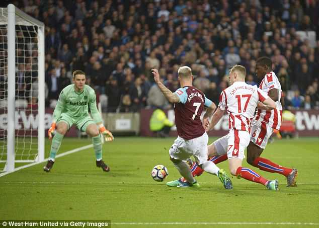 Marko Arnautovic was twice denied at the near post by Butland during opening 45 minutes