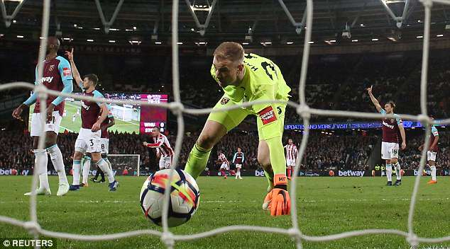 Crouch tapped in after West Ham keeper Hart fumbled Xherdan Shaqiri's effort on Monday