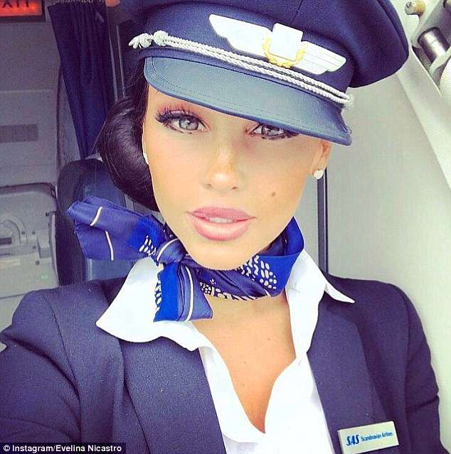 The brunette beauty is a senior cabin crew member with SAS - Scandinavia