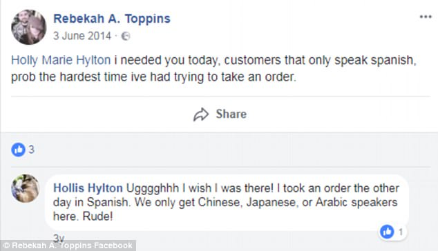 Ms Hylton previously called customers who didn't speak English 'rude' in a Facebook post at a previous fast-food job
