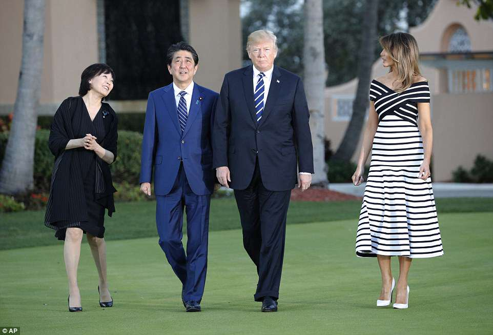 President Donald Trump (second from left) and First Lady Melania Trump (far left) hosted their Japanese counterparts, Prime Minister Shinzo Abe (second from right), and his wife, Akie Abe (far left), for dinner at Mar-a-Lago resort in Palm Beach on Tuesday