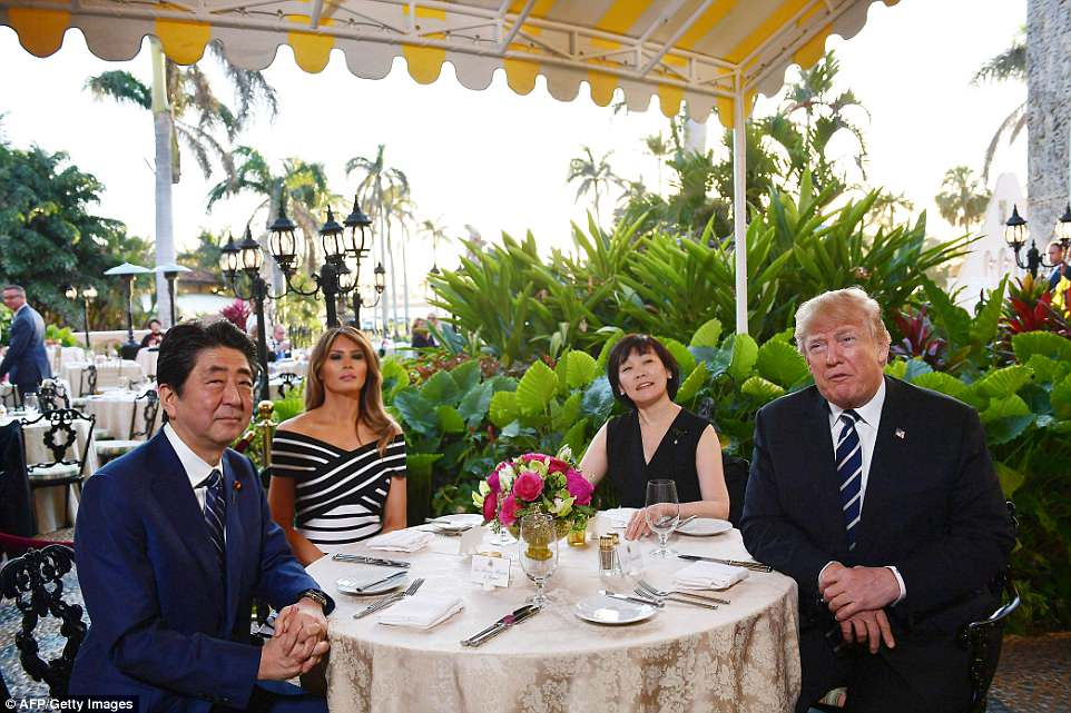 This is the second time since Trump became president that he has hosted Abe and his wife at Mar-a-Lago