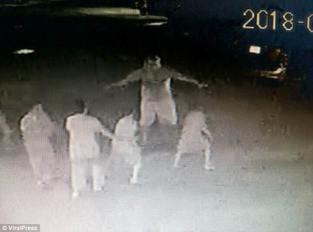 Michael Stillinger was caught on CCTV approaching a group of kids outside a temple in Pai, Thailand