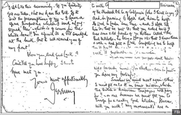 In the letter Jeremy Thorpe wrote of his longing to see his gay lover Bruno again - and urged him to write back