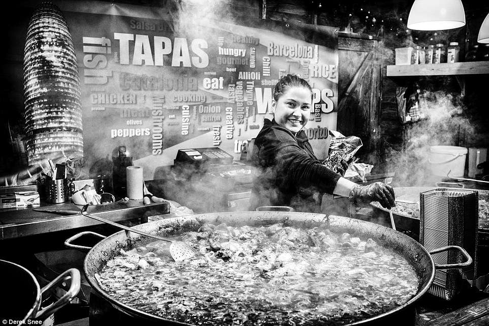 British photographer Derek Snee won theMarks & Spencer Food Adventures prize for his picture, Tapas Upon Tyne, which was taken on a chilly winter's evening at Newcastle upon Tyne's International Christmas Market, where an enthusiastic chef prepared warming Catalan tapas