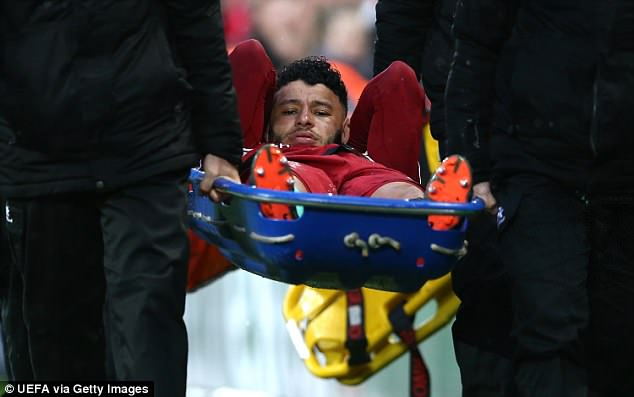 Alex Oxlade-Chamberlain was stretchered off during the first half of the semi-final on Tuesday
