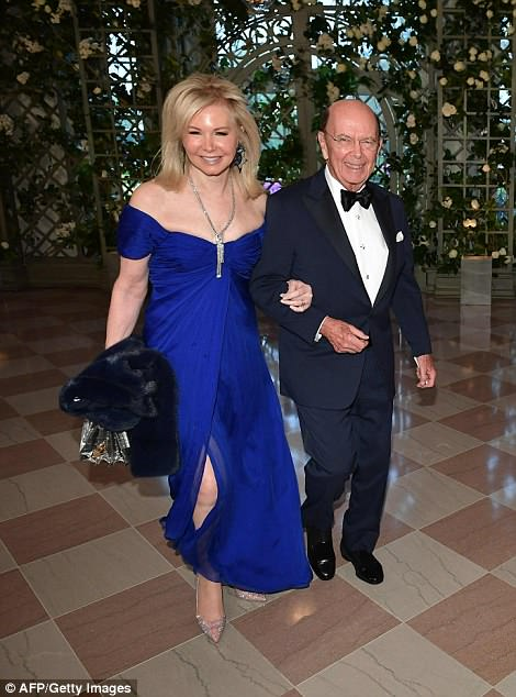 Secretary of Commerce Wilbur Ross arrives with his wife