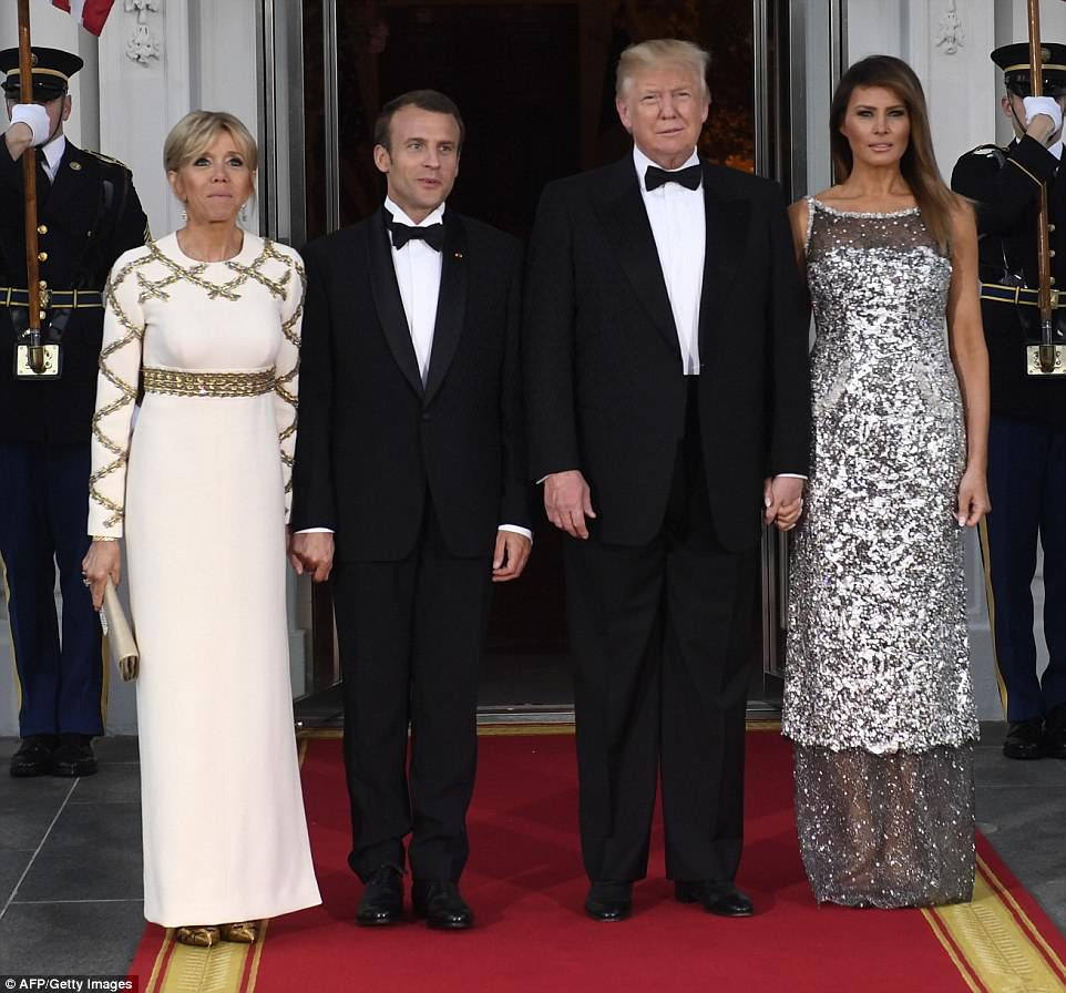 Donald and Melania Trump greetedFrench President Emmanuel Macron and his wife Brigitte ahead of their first White House state dinner on Tuesday evening
